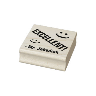 """""""EXCELLENT!"""" + Tutor Name Rubber Stamp"""