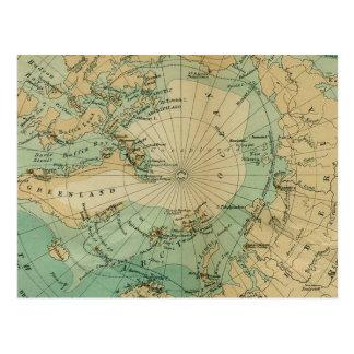 Excellent Vintage Map of Arctic Ocean Postcard