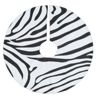 Excellent Zebra print black and white Brushed Polyester Tree Skirt