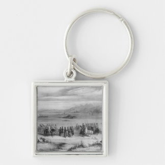 Exchange of prisoners by the Bishop of Algiers Silver-Colored Square Key Ring