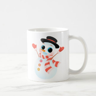 Excited Cute Snowman Coffee Mug