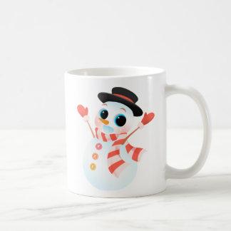 Excited Cute Snowman Coffee Mug