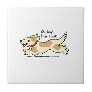 Excited for food pet dog illustration small square tile