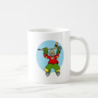 excited hockey player coffee mug
