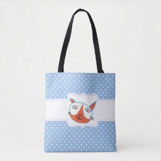 Excited Little Cat Image On Tote Bag