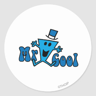 Excited Mr. Cool Jumping For Joy Round Sticker