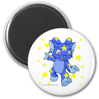 Excited Starry Acara with star burst 6 Cm Round Magnet