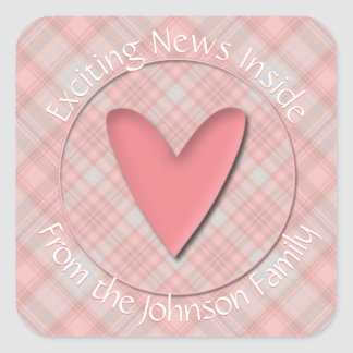 Exciting News Baby Pink Plaid Envelope Seals
