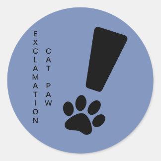 EXCLAMATION CAT PAW Sticker, Matte, Classic Round Sticker