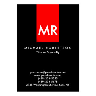 Exclusive Monogram Black Red Stripe Clean Pack Of Chubby Business Cards