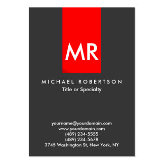 Exclusive Monogram Grey Red Stripe Clean Pack Of Chubby Business Cards