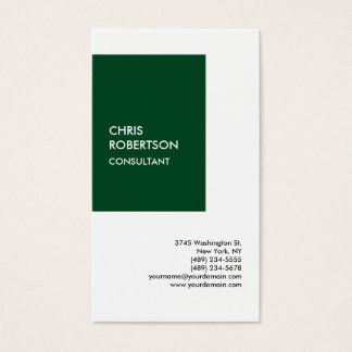 Exclusive Special Forest Green White Modern Unique Business Card