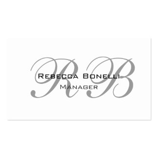 Exclusive Unique White Gray Monogram Manager Pack Of Standard Business Cards