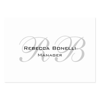 Exclusive Unique White Gray Monogram Pack Of Chubby Business Cards