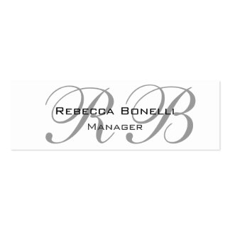 Exclusive Unique White Gray Monogram Slim Pack Of Skinny Business Cards