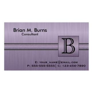 Executive Amethyst Monogram Pack Of Standard Business Cards