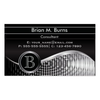 Executive Black and Silver |  Monogram Pack Of Standard Business Cards