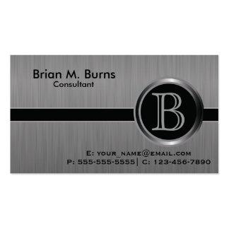 Executive Black Brush Steel Monogram Pack Of Standard Business Cards