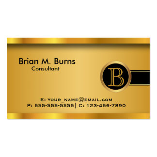 Executive Black Gold Monogram Double-Sided Standard Business Cards (Pack Of 100)
