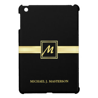 Executive Black Gold Monogram iPad Mini Case