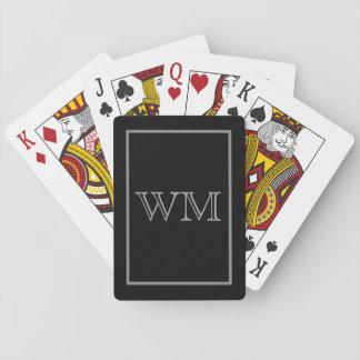 Executive Black Grey Initials Poker Deck