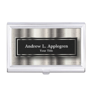Executive - Black & Silver Metallic Accents Business Card Holder