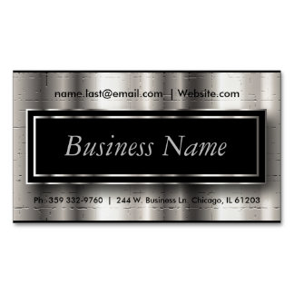 Executive - Black & Silver Metallic Accents Magnetic Business Card