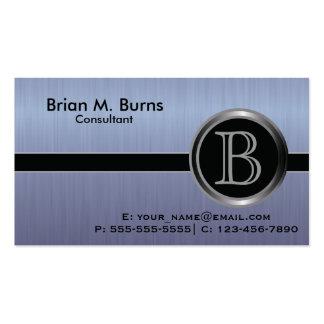 Executive Blue Brush Steel Monogram Pack Of Standard Business Cards