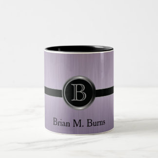 Executive Monogram Design - Amethyst Brush Steel Two-Tone Mug