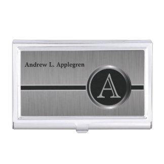 Executive Monogram Design - Black Brush Steel Business Card Holder