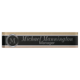 Executive Monogram Design- Citrine Brush Steel Name Plate