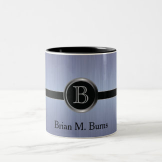 Executive Monogram Design - Sapphire Brush Steel Coffee Mugs