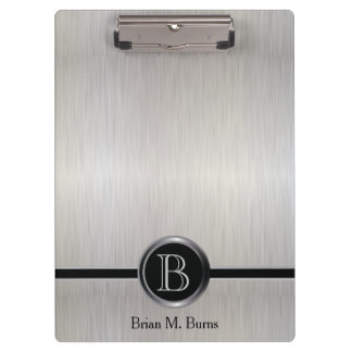 Executive Monogram Design - White Brush Steel Clipboard
