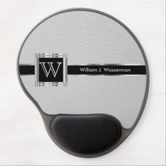 Executive Office Monogram Light Gray Leather Gel Mouse Pad