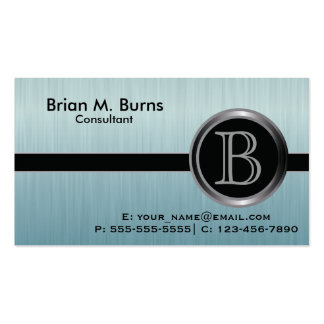 Executive Turquoise Brush Steel Monogram Pack Of Standard Business Cards