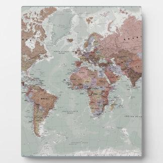 Executive World Map Plaque