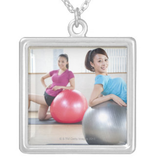 Exercise Balls Silver Plated Necklace