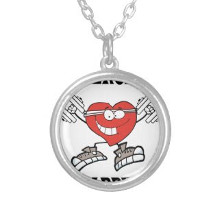 exercise heart2 silver plated necklace
