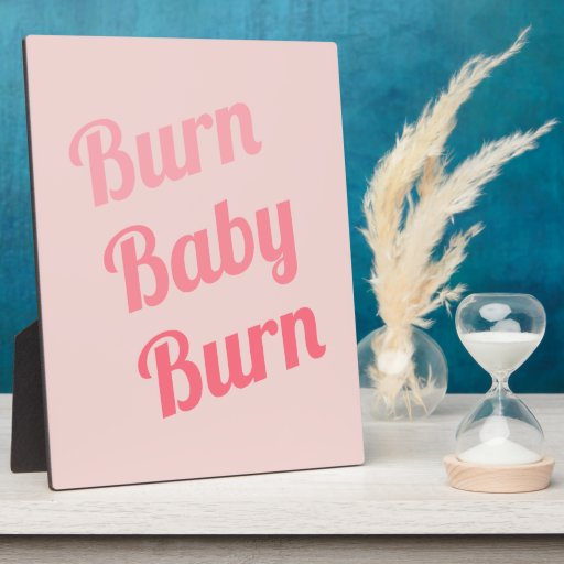Exercise Motivation Burn Baby Pink Display Plaques