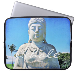 """Exhale"" Hawaiian white Buddha photo laptop sleeve"