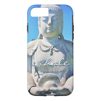 """Exhale"" Quote Peaceful Hawaii White Buddha Photo iPhone 8/7 Case"