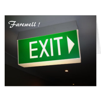 exit farewell big greeting cards