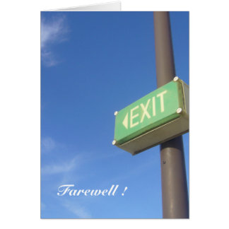 exit farewell greeting card