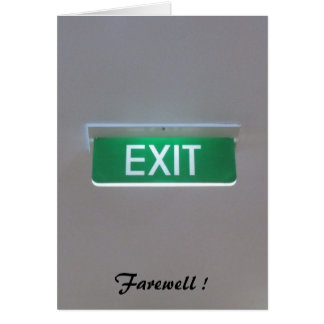exit farewelled greeting card