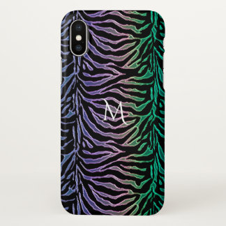 Exotic Animal Print Striped Monogram iPhone X Case