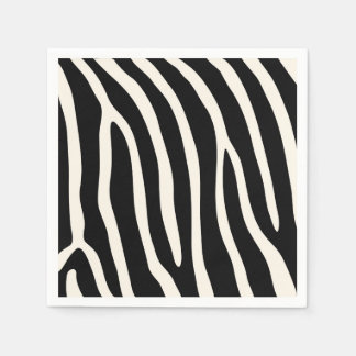 Exotic Animal Zebra Stripes in Black Disposable Serviettes