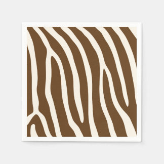 Exotic Animal Zebra Stripes in Brown Paper Napkins