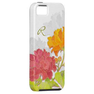 Exotic Asian Peony Flowers Monogram iPhone 5 Cases