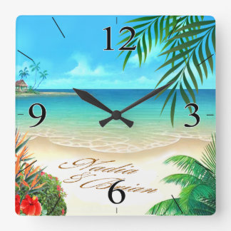Exotic Beach ASK ME TO DRAW YOUR NAMES IN SAND Wallclock