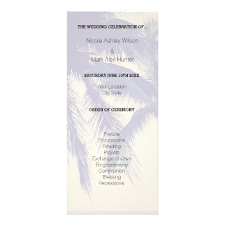Exotic beach destination wedding ceremony program rack card